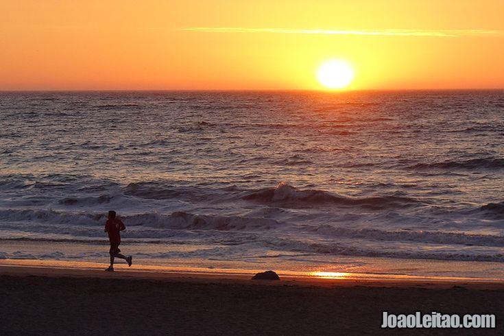 Photo of sunset of Iquique Beach in Atacama Desert Chile