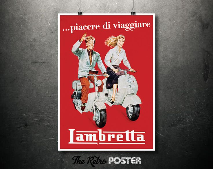 1950s Lambretta ... piacere di viaggiare - Vintage Poster or Canvas // High Quality Fine Art Reproduction Giclée Print by TheRetroPoster on Etsy