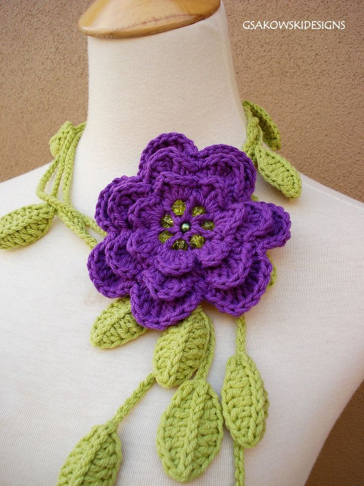 Vine Leaf Knitting Pattern : Best 25+ Crochet flower scarf ideas on Pinterest Crochet ...