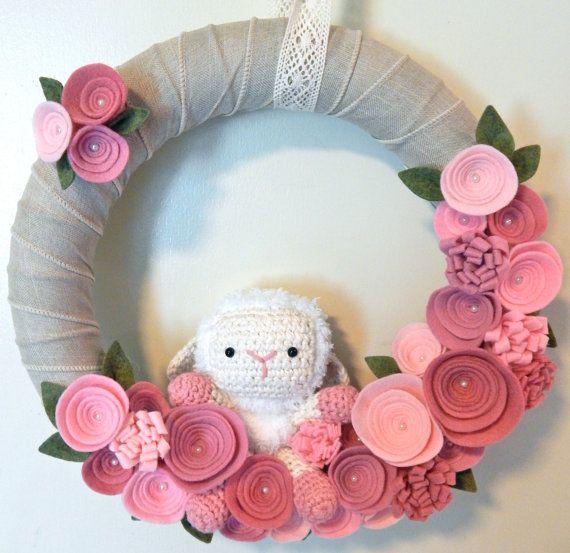 Baby Girl Wreath-Baby Shower Decor-Baby Lamb by TheBeautifulDoor                                                                                                                                                                                 More