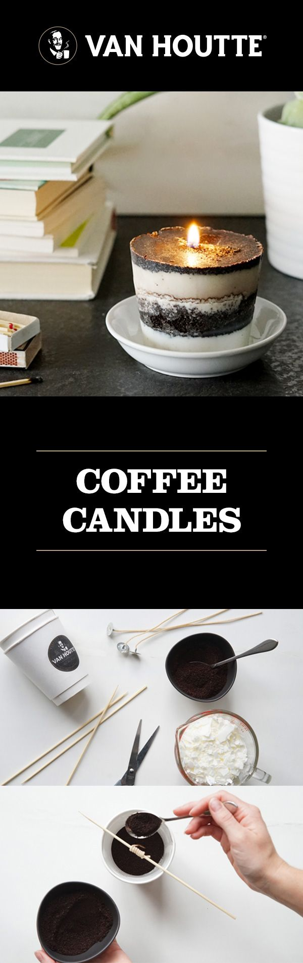 Make something stylish out of used coffee grounds with a fun DIY: homemade coffee-scented candles.