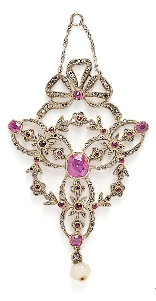 An Antique Ruby and Diamond Pendant, bezel-set with a cushion-cut ruby measuring approx. 7.00 x 6.50 x 3.20 mm, and weighing approx. 1.25 cts., with cushion- and circular-cut rubies and rose-cut diamonds, silver and gold mount, with pearl drop, lg. 2 5/8 in. #antique