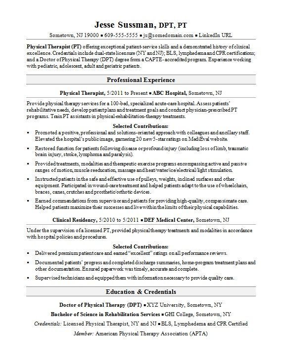 Physical Therapy Sample Resume Physical Therapist Assistant Physical Therapy Student Resume Examples
