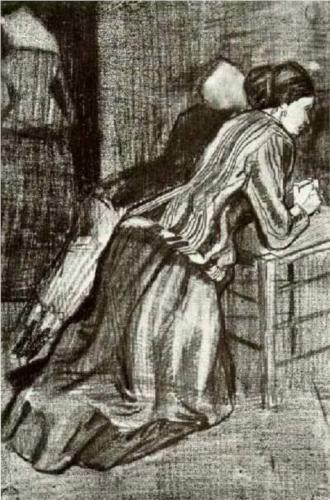 Two Women, Kneeling - Vincent van Gogh Completion Date: 1883 Place of Creation: Haag / Den Haag / La Haye / The Hague, Netherlands Style: Realism Genre: sketch and study Technique: pencil, chalk Material: paper Gallery: Rijksmuseum Kröller-Müller, Otterlo, Netherlands