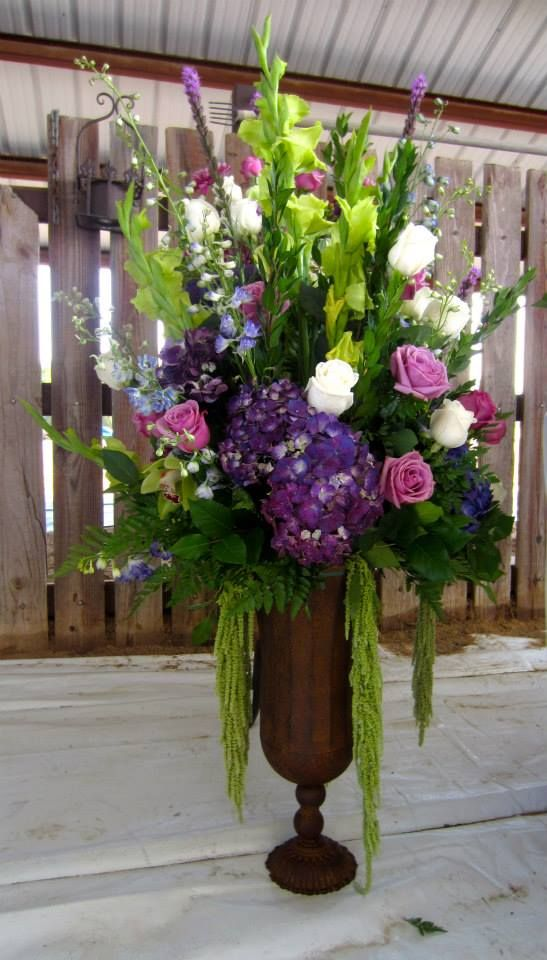 Bells Of Ireland Purple Hydrangea Lavender Roses Ivory With Delphinium And Hanging