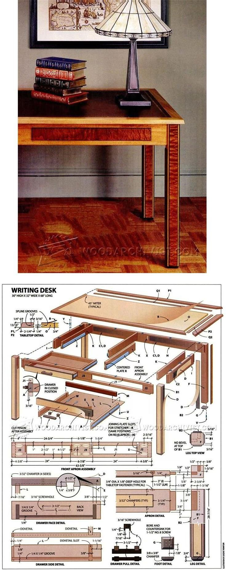 Elegant Writing Table Plans - Furniture Plans and Projects | WoodArchivist.com