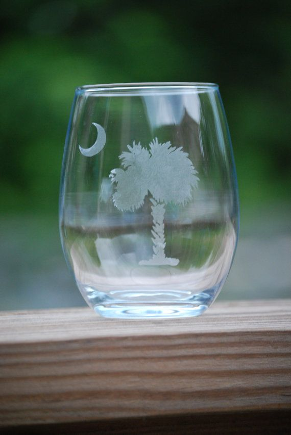 Etched Stemless Wine Glass Palmetto Tree Trees Gifts