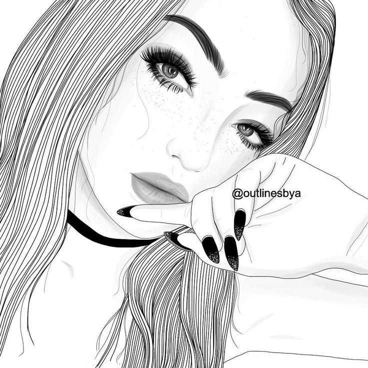tumblr girl, outlines, outline, black and white, girl