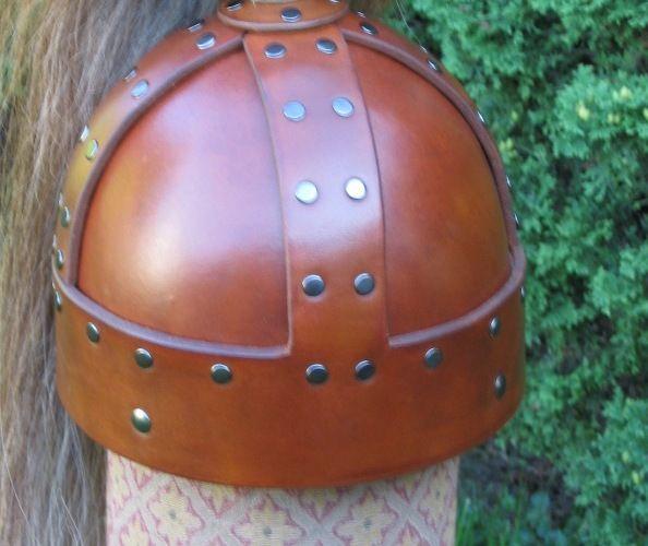 Brown medieval leather helm