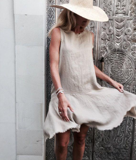 The Linen Positano Dress Linen Frill Dress   Drop Waist
