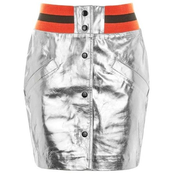 Topshop Sport Metallic Leather Mini Skirt ($135) ❤ liked on Polyvore featuring skirts, mini skirts, white skirt, short white skirt, genuine leather skirt, white leather skirt and short mini skirts