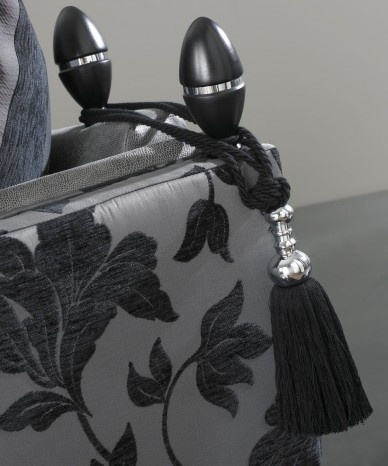 Dark wood and Chrome Finials with Black Tassles to match castors