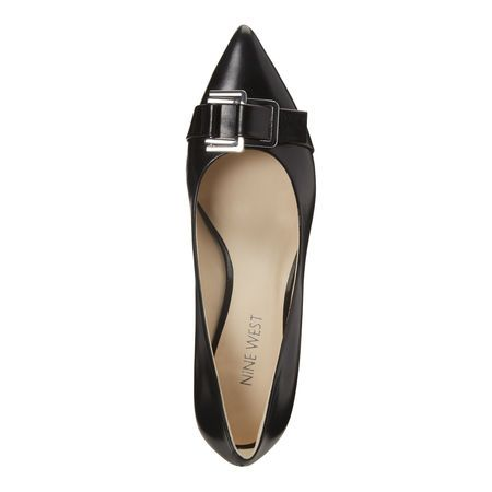 Black Leather Annabella Pointy Toe Pumps | Nine West