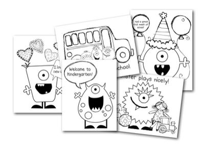 First day of kindergarten monster -themed coloring pages (freebie from Mrs. Lirette's