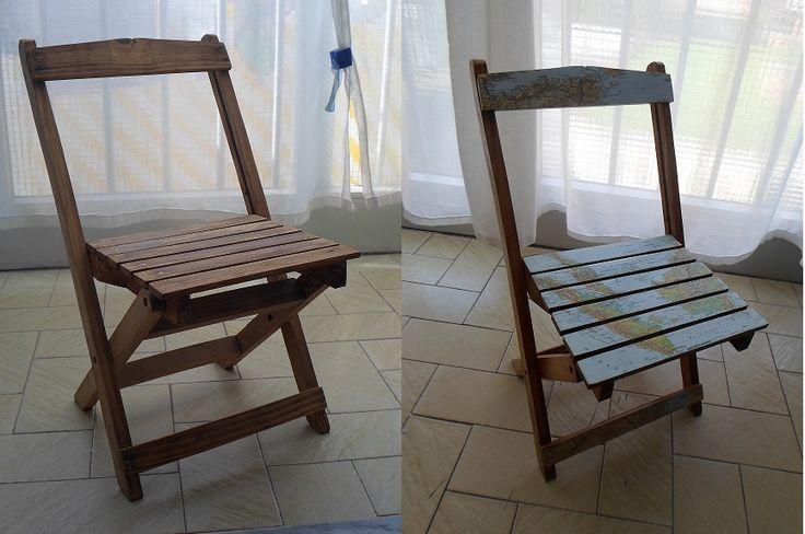 Questa sedia mi è stata donata da alcuni amici, ho pensato di renderla un ricordo del viaggio di nozze con le cartine dei luoghi che ho visitato con mio marito in quell'occasione.