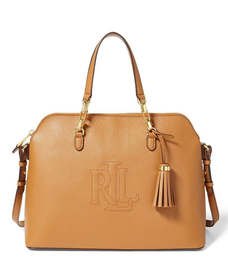 Lauren Ralph Lauren Anstey Collection Tasseled MonogramStitched Dome Satchel #Dillards