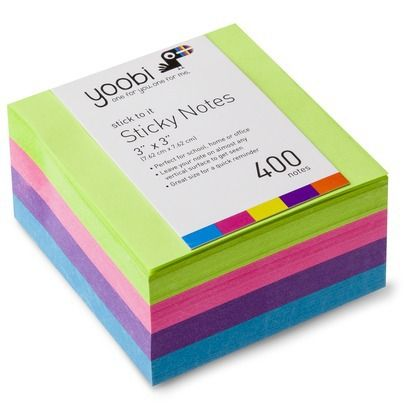 "Yoobi 400ct 3""x3"" Sticky Notes - Green"