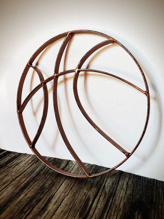 BOLD hammered copper finish basketball metal wall art // rustic shabby chic sports decor // boys mens gift for him