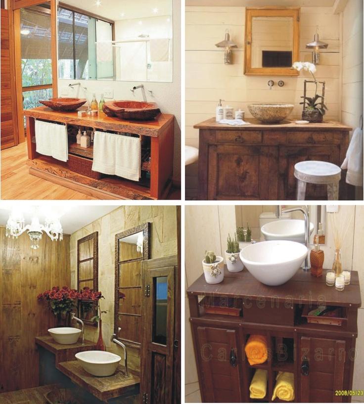 Madeira, madeira, madeira  Lavabo Rústico  Pinterest  Madeira -> Cuba Para Banheiro Rustico