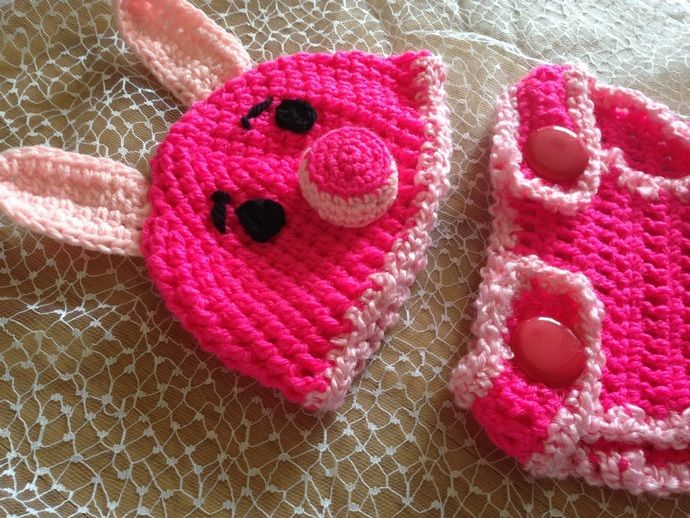 piglet hat and nappy cover set - crochet by DELiciousDesignz, $30.00 USD