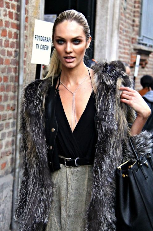 fur. www.withlovefromkat.com: Fashion, Inspiration, Candice Swanepoel, Street Style, Fur, Candiceswanepoel, Beauty