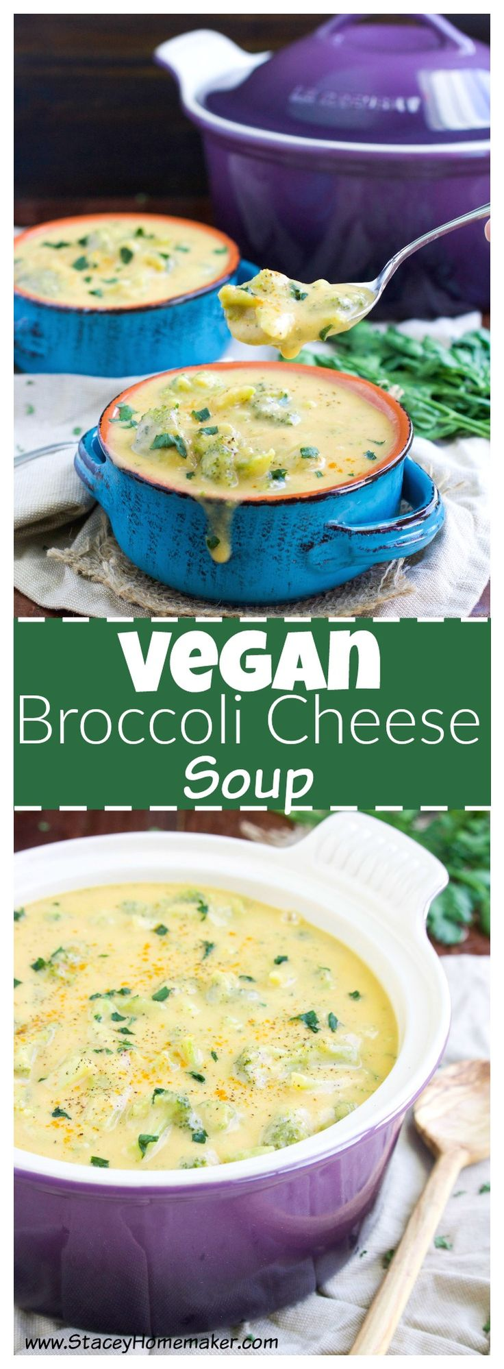 "This thick and creamy vegan broccoli cheese soup recipe is loaded with ""cheesy"" goodness that will quench your craving for comfort food any night of the week. Kid-friendly, vegan, dairy-free and gluten-free."