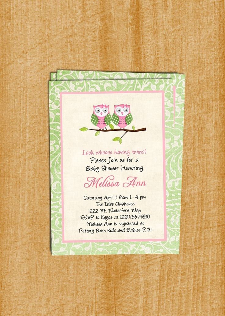Twin Girls Owl Baby Shower Invitation Custom Printable