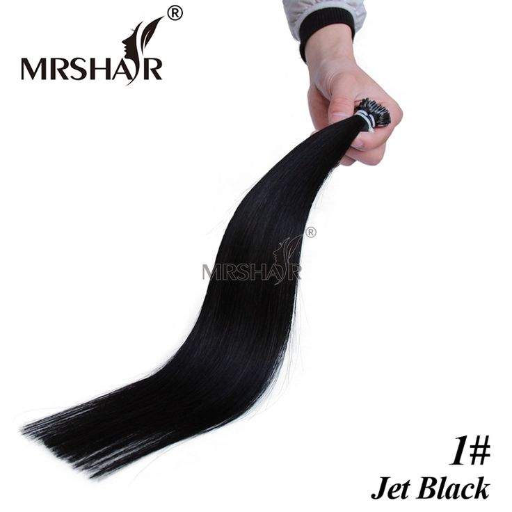 "Jet Black 1# Pre Bonded Hair Extensions I Tip 1g/pc 16"" 20"" 24"" Straight Keratin Human Hair On Capsule Real Hair Extension 50pcs"