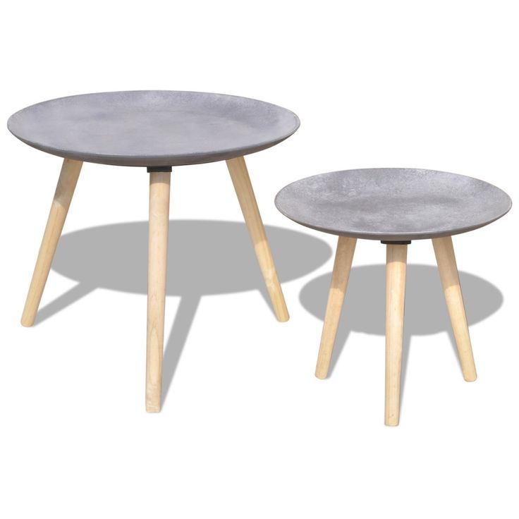 Set Of  2 Side Tables Contemporary Coffee Table Set Grey Living Room Furniture