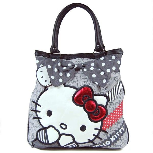 Loungefly Hello Kitty Polka Dot Bow Tote Bag Grey ($72) ❤ liked on Polyvore