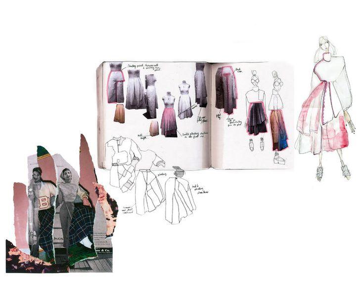 Fashion Sketchbook - graduate collection, fashion design development with research, sketches & draping experiments; fashion portfolio // Sofia Ilmonen