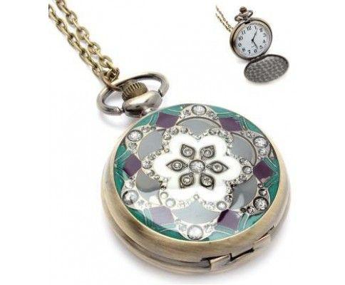 Vintage hodinky na retiazke tyrkysové #vintage #vintagejewelry #pocketwatch #watchnecklace #womanology