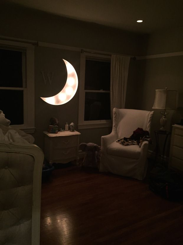 the most adorable gray and white gender neutral baby nursery, complete with a goodnight moon PB Baby gift from my mom