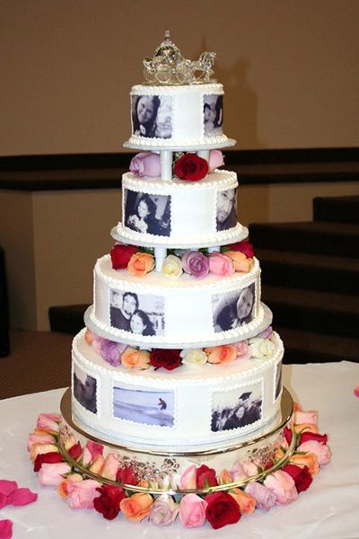 Sentimental wedding ideas: Dress up your wedding cake with edible photos of you two together.