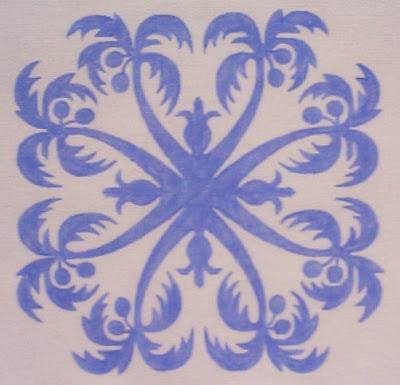 Hawaiian Pineapple quilt pattern, I love the palm trees!