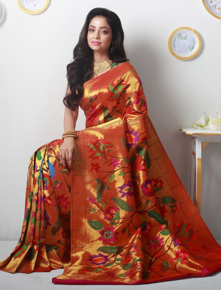 It took 18 months for a team of weavers to weave this elegant piece of work.The master weaver of this saree is Navnath Bondarde from Yeola.Navnath who started weaving when he was 10 is comfortable in the skin of the Master Weaver for many years now. He was associated with us in the past as well.A team effort of 6 weavers has resulted in the making of this gorgeous piece of work.Free Shipping Allover India!Easy Online Payment Options!Free Blouse Stitching!Fall Pico Service Available!