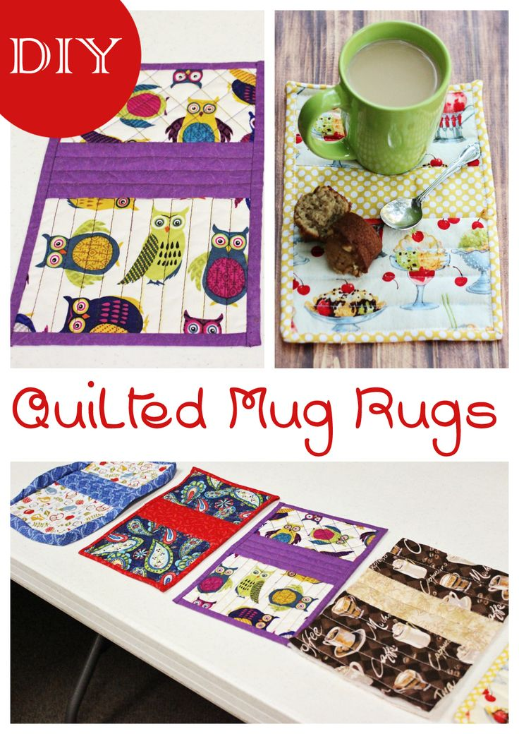 These easy-sew DIY Quilted Mug Rugs are fun to make. Pair them with a mug and some tea bags or hot cocoa packets for a cute gift!
