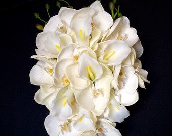White Calla Lily and Pink Orchid Cascading by blumarieboutique