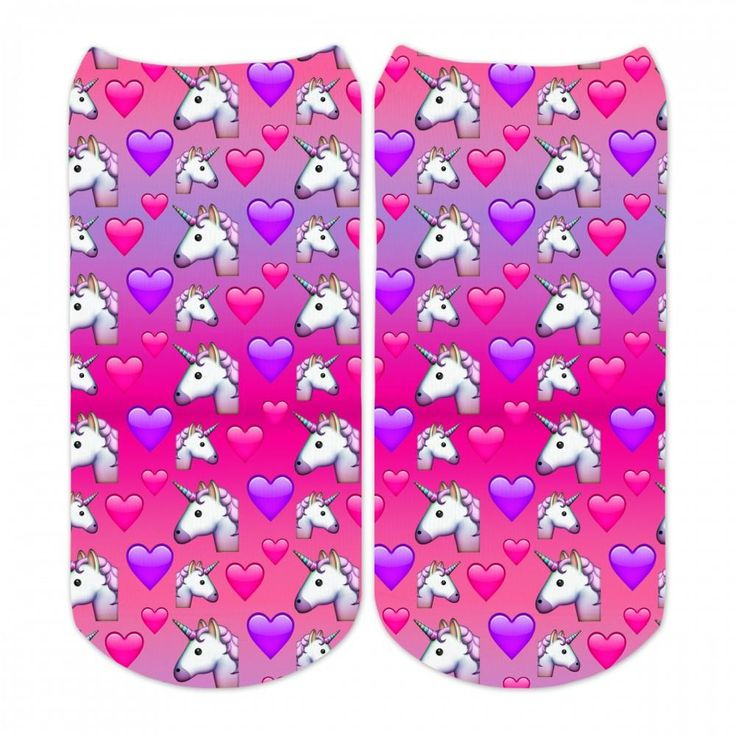 Sublime Designs Adult Fun Printed No Show Socks- Unicorn Emojis