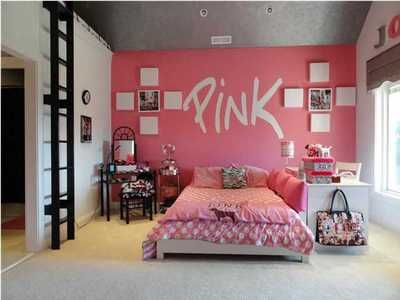 Love the desk/bed setup for a teen room. Makes it like a lounge couch area. Victoria's Secret PINK Room  LOVE!!