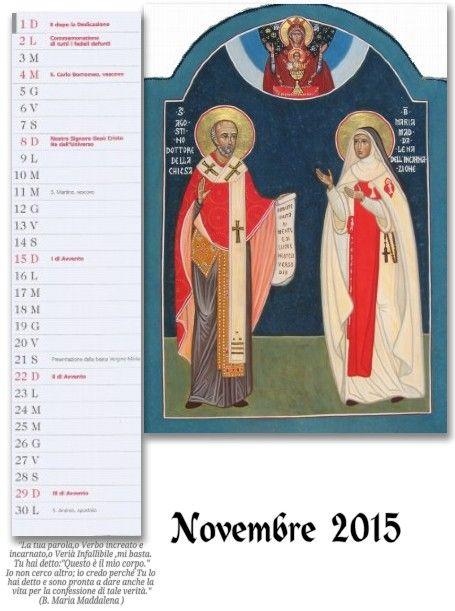 icone sacre-Mirabile Ydio: Calendario di  Novembre 2015:Beata Maria Maddalena...