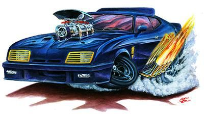 Mad Max Interceptor Muscle Car Cartoon Tshirt New Art Drawing Of
