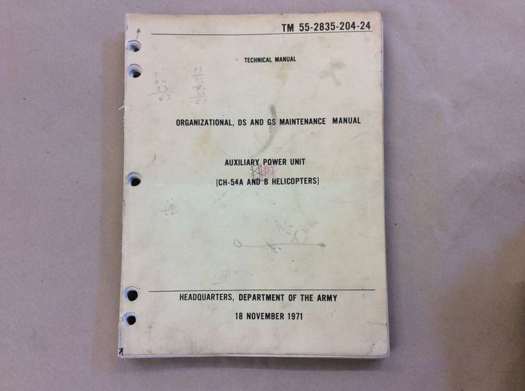 ARMY CH54A/B HELICOPTERS AUXILIARY POWER UNIT TECHNICAL MANUAL | Collectibles, Militaria, Vietnam (1961-75) | eBay!