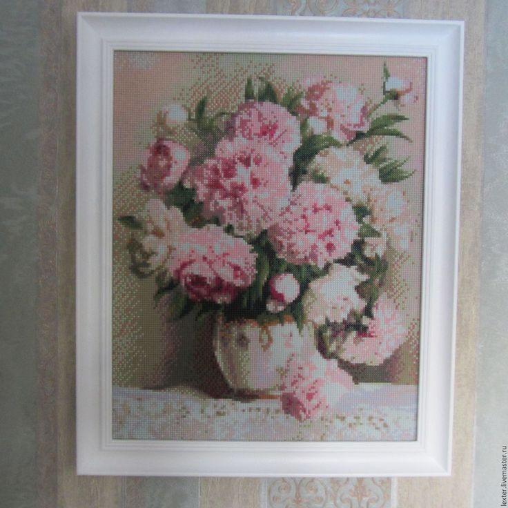 Купить Картины и панно ручной работы.Картина из мозайки Пионы в вазе - розовый, белые цветы