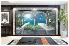 Custom 3d wallpaper for walls 3 d wall murals wallpaper Noble peacock riches and honour bird flowers and background wall decor(China (Mainland))