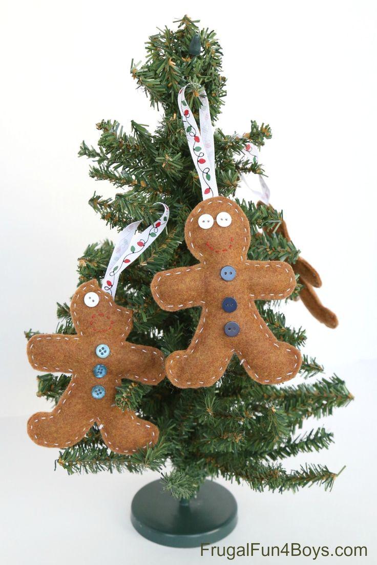 Felt Gingerbread Christmas Ornaments For Kids To Make