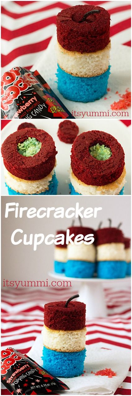 Patriotic recipes like these Firecracker Cupcakes from @itsyummi are SO cute! Cupcakes made with boxed cake mix are stuffed with Pop Rocks candy for an explosion of fun! | easy desserts via @itsyummi