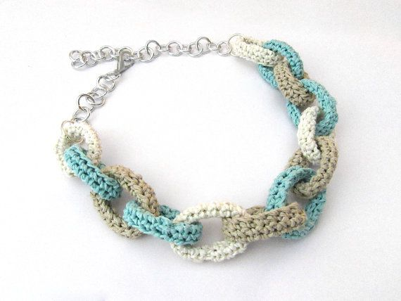 Crochet necklace,chain necklace,hemp necklace,hemp cord necklace,crochet hemp necklace,white,ecru,spring,summer,light blue,giada cortellini  Hemp