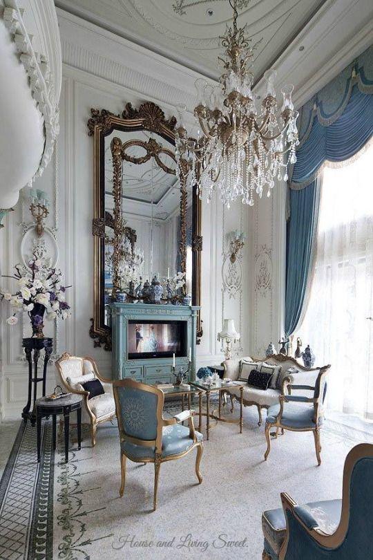 huge, ornate mantle mirror