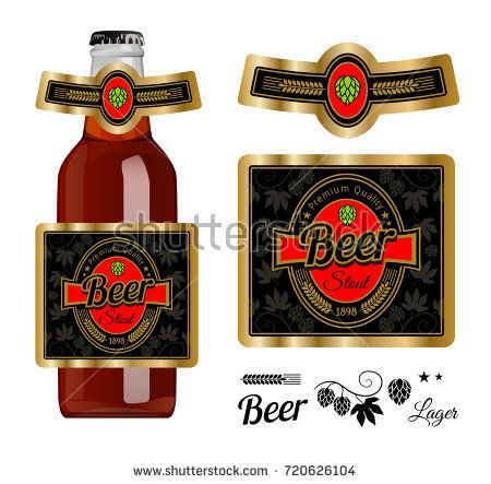 Beer label template with neck label. Stout beer. Vector Illustration.